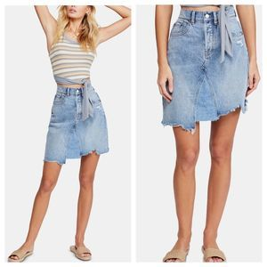 Free People Going Rouge Distressed Denim Skirt NEW
